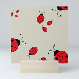 Ladybugs-Beige+Red Mini Art Print