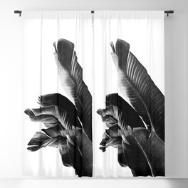 Bird of Paradise Plant Black and White 01 Blackout Curtain