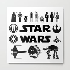 Star Characters Wars Metal Print