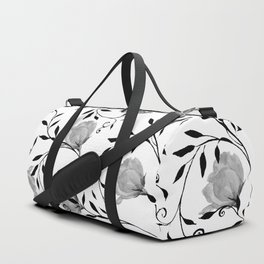 Black white watercolor botanical roses floral Duffle Bag