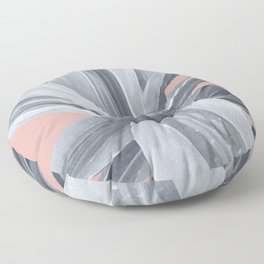 Grey Leaves. Tropical pink Floor Pillow