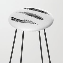 Feather Trio | Black and White Counter Stool