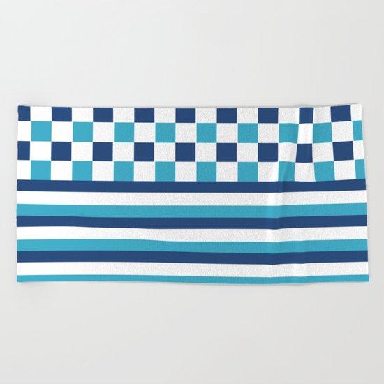Blue summer stripes Beach Towel