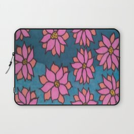 Pink and Blue Dahlia Print Laptop Sleeve