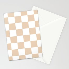 Large Checkered - White and Pastel Brown Stationery Cards