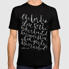PSALM 34:18 (Black and White) Mens Fitted Tee Black MEDIUM