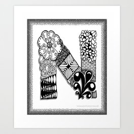 Zentangle N Monogram Alphabet Initials Art Print