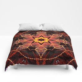 Kaleidoscope fantasy on lights in the shape of a bison! Comforters