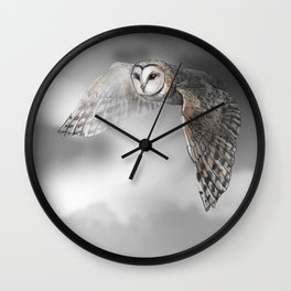 flying owl (tyto alba) Wall Clock