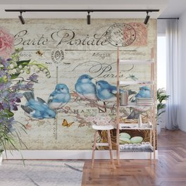 Vintage Postcard with Bluebirds Wall Mural