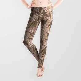 Sakura Branch Pattern - Pale Dogwood + Hazelnut Leggings