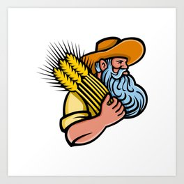 Wheat Grain Farmer With Beard Mascot Art Print