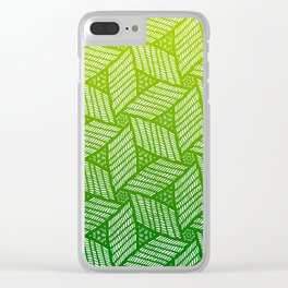 Japanese style wood carving pattern in green Clear iPhone Case