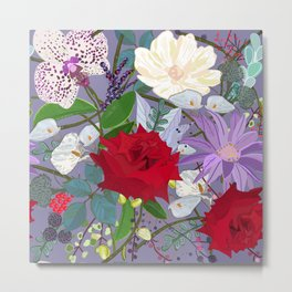 Red Rose, Orchid Red Fruits Vibrant Colorful Pattern Metal Print