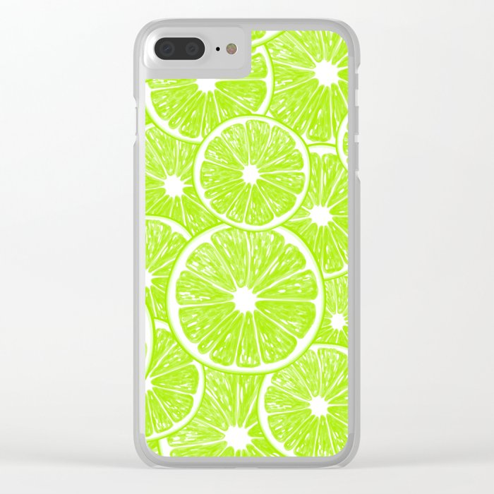 Lime slices pattern Clear iPhone Case