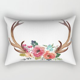 Floral Deer Antlers Rectangular Pillow