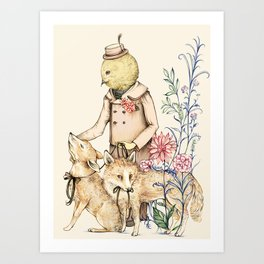 Canary and foxes Art Print