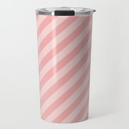 Classic Blush Pink Glossy Candy Cane Stripes Travel Mug
