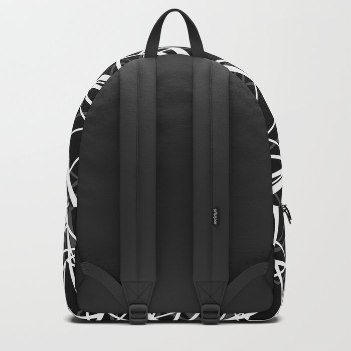 Black and white abstract geometric pattern . 8 Backpack