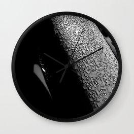 Morning dew on leaf blade Wall Clock