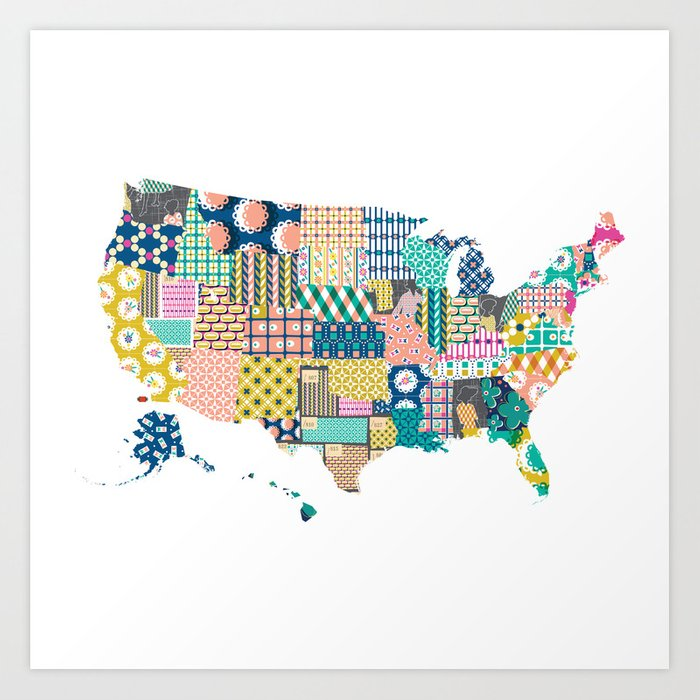 Fabric Swatch U.S. Map Art Print by pennycandy