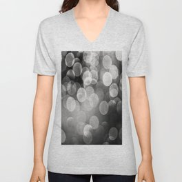 Bokeh Light In Black And White #decor #society6 Unisex V-Neck
