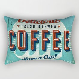 Vintage Style Coffee Sign Rectangular Pillow