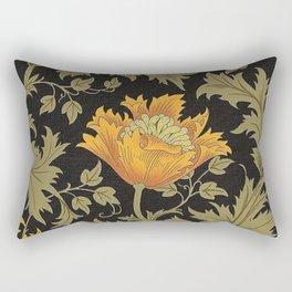 William Morris Yellow Flowers and Laurel Floral Textile Pattern Rectangular Pillow