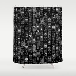 Seltzer Crazy Black Shower Curtain