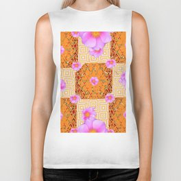 Quilted Style Fuchsia Pink Wild Rose Orange Pattern Abstract Biker Tank
