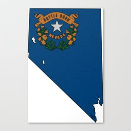 Nevada Map with State Flag Canvas Print