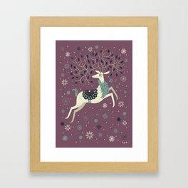 Prancing Reindeer Framed Art Print
