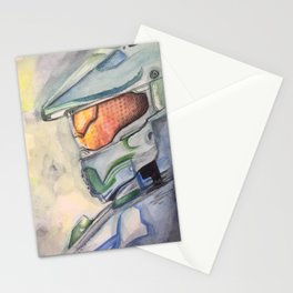 Halo gaming watercolor design Stationery Cards