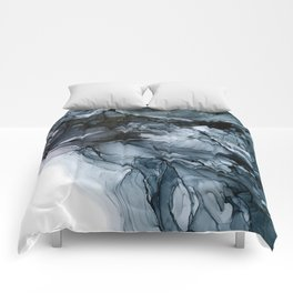 Dark Payne's Grey Flowing Abstract Painting Comforters