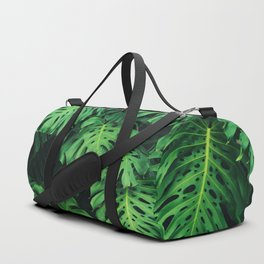 Monstera leaf jungle pattern - Philodendron plant leaves background Duffle Bag