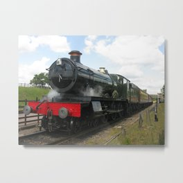 Vintage steam engine railway train Metal Print