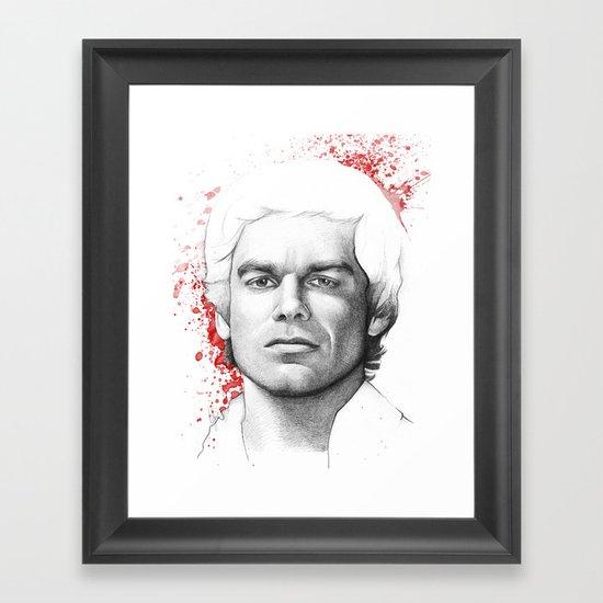 Dexter Morgan Portrait, Blood Splatters Framed Art Print