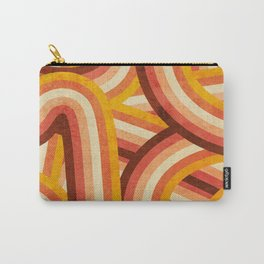 Vintage Orange 70's Style Rainbow Stripes Carry-All Pouch