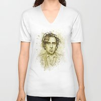 tim shumate V-neck T-shirts featuring Tim Burton by Renato Cunha