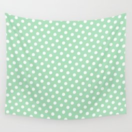 Green and White Circles Wall Tapestry