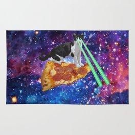 Galaxy Laser Beam Eyes Cat on Pizza Rug