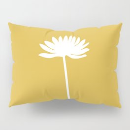 Tall Flower in White and Mustard Yellow. Minimalist Modern Floral Pillow Sham