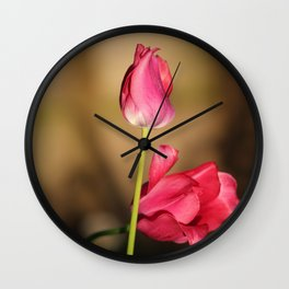 Pink Tulips Brown Background Wall Clock