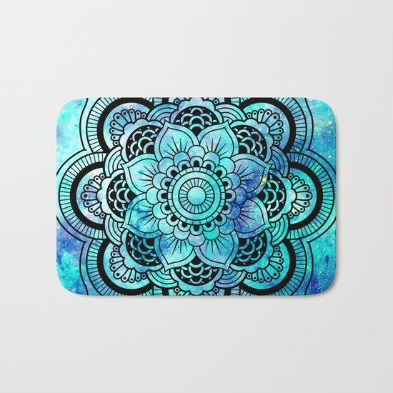 Galaxy Mandala Aqua Indigo Bath Mat