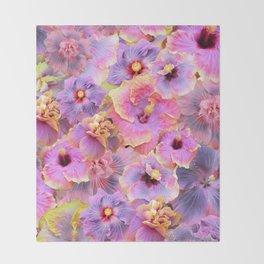 Tropical hibiscus patterns Flower Floral Flowers Throw Blanket