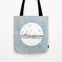 Washington D.C., City Skyline Illustration Drawing Tote Bag