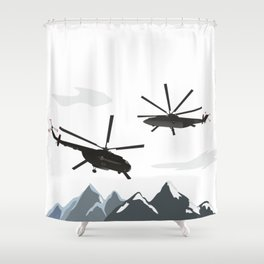 Black Helicopters in the Mountains Shower Curtain