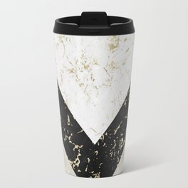 Scandinavian Geometric | Black Gold White Marble Travel Mug