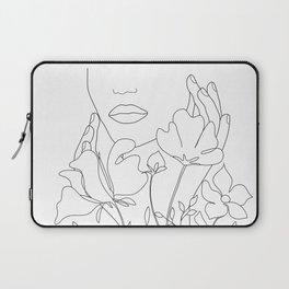 Minimal Line Art Summer Bouquet Laptop Sleeve