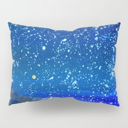 Moon Rising as an orange dot in the Great Sand Dunes National Park, USA travel Pillow Sham